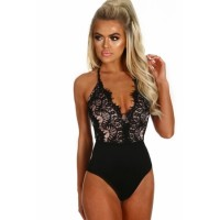 Black Eyelash Lace Allure High Waisted Bodysuit