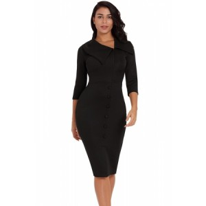 Dark Blue Long Sleeve Button Detail Bodycon Midi Dress Black