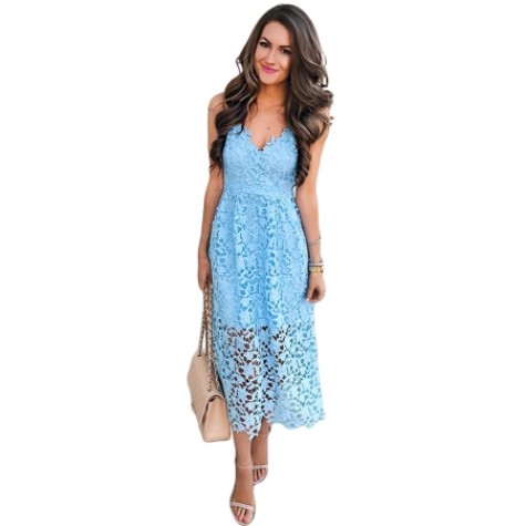 9cc7d0dd77b Light Blue Spaghetti Strap V-Neck Lace Midi Dress Zoom. Product ...