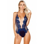 Navy V Shaped Eyelash Lace Satin Teddy Black Blue