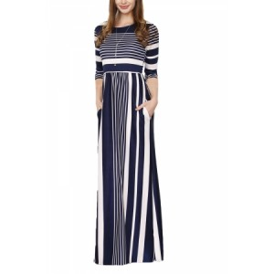 Pink Multicolor Striped Casual Pocket Style Maxi Dress