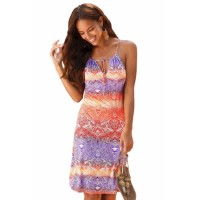 Purple Orange Bicolor Bohemian Print Keyhole Front Dress
