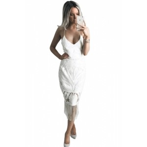 Red Fashion Tassel Backless Lace Dress White