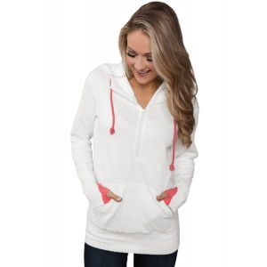White Half-zip Quilted Ampersand Hoodie