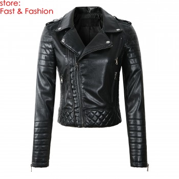 2019 New Fashion Women Spring Autumn Soft Faux Leather Jackets Lady Motorcyle Zippers Biker Blue Coats Black Outerwear Hot Sale