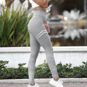 New Women Gold Print Leggings No Transparent Exercise Fitness Workout Leggings Patchwork Push Up White Pink Gray Black