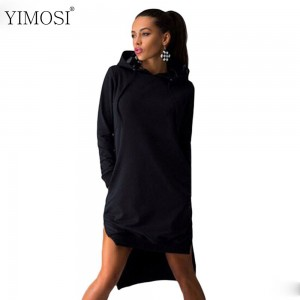YIMOSI Women Pockets Pullover Svitshot 2019 Casual Hoodies Women Tracksuit Hoodies Sweatshirt Female Slim Hoody Dress