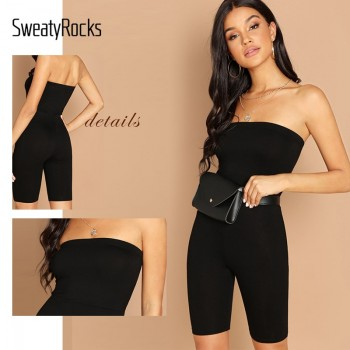 Black Skinny Glitter Strapless Tube Romper Sleeveless
