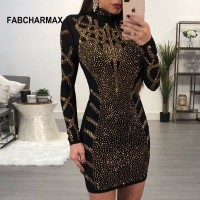 Geometric rhinestones black bodycon dress women fashion long sleeve Black Khaki