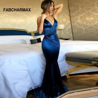 V neck spaghetti strap long pleated dress summer ladies mermaid evening party dresses women backless Blue Gold