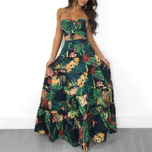 Women Two Piece Set Crop Top Long Skirt Floral Printed Green