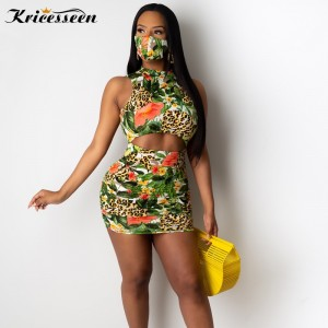 Kricesseen Casual Print Patchwork Leopard Mini Dress With Masks Women Summer Cut Out Backless Bodycon Pleated Party Club Dress