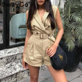 BerryGo women rompers Elegant sashes khaki playsuit Summer womens jumpsuit Office ladies playsuit pockets button zipper rompers