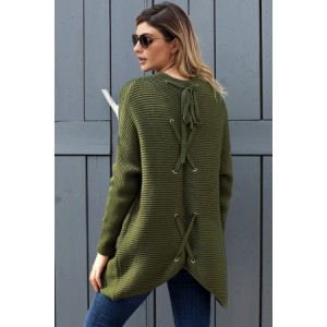 Black Ribbed Knit Lace Up Back Sweater Cardigan Army Green