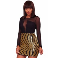 Black Sheer Mesh Long Sleeve Champagne Club Dress Silver