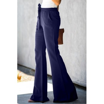 Blue Dress to Impress Pocketed Flared Tie Pants