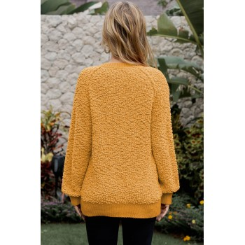 Brown Ribbed V Neckline Popcorn Knit Sweater Yellow Apricot