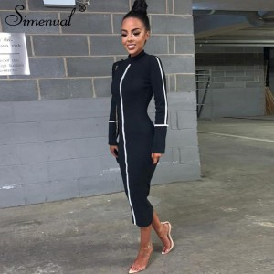 Casual Bodycon Women Long Dress Fashion Full Sleeve Striped Patchwork Dresses Fashion Turtleneck Ladies Skinny Dresses
