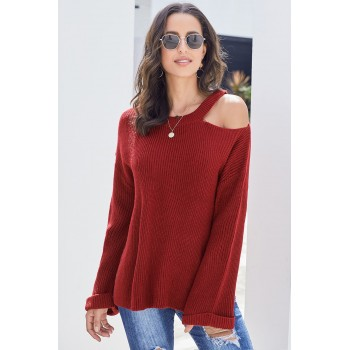 Gray Asymmetric Cut out Shoulder Pullover Sweater Red Black
