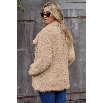 Gray Fur Long Sleeve Jacket Khaki