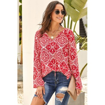 Red Long Sleeve V Neck Printed Chiffon Blouse Black Green Blue Pink