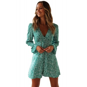 Sky Blue V Neck Floral Print Boho Ruffled Sleeve Dress Green