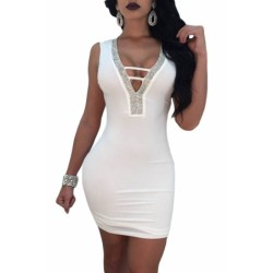 V Neck Hollow-out Silver Trim White Bodycon Prom Dress