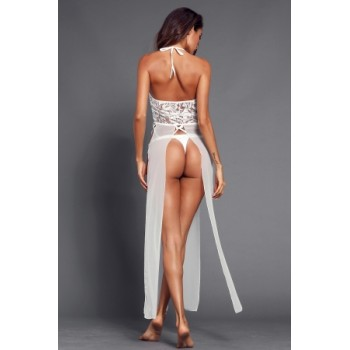 White Long Slit Splice Halter Lace Chemise with Thong