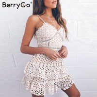 Women white lace dress party spaghetti strap Embroidery ruffle sexy dress V-neck hollow out summer dresses White Blue