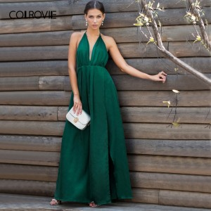 Sexy High Slit Satin Maxi Party Dress Women Plunge Neck Cross Back Green