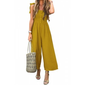 Blue Button Down Sleeveless Wide Leg Jumpsuit Yellow Black Gray