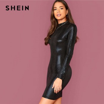 SHEIN Black Mock Neck Crocodile Embossed Glamorous Bodycon Dress Women Autumn Solid Long Sleeve Form Fitted Short Dresses