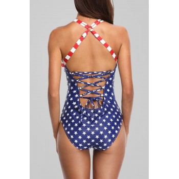 Charmleaks Women One Piece Swimwear American Flag Swimwear Striped Swimsuit Bathing Suit Push Up Beachwear Monokini Bikini