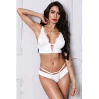 White Cut Out Plunge Lace Longline Underwire bra