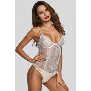 White Sexy Hollow Out Lace Bodysuit Black