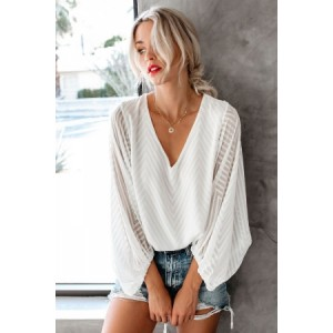 White Balloon Sleeve Textured Blouse Black
