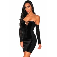 Black Off Sholder Long Sleeve Velvet Panels Lace up Dress