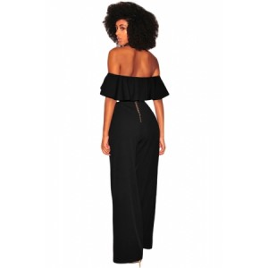 Black Ruffle Off Shoulder Wide Leg Jumpsuit