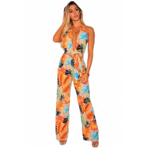 Blue Palm Print Halter Belted Jumpsuit Orange