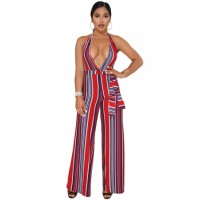 Navy Red Striped Deep V Neck Jumpsuit