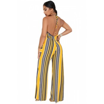 Navy Yellow Striped Deep V Neck Jumpsuit