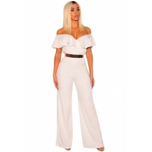 White Ruffle Off Shoulder Wide Leg Jumpsuit