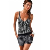 Black Polka Dot Two Pieces Tankini Green Blue