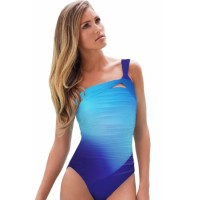 Purple Gradient Color One-shoulder Maillot Sky Blue