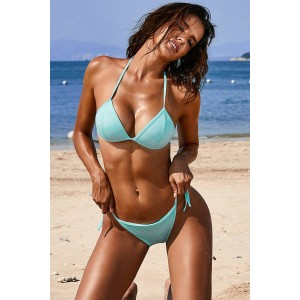 Sky Blue Halter Triangular Bikini with Ties