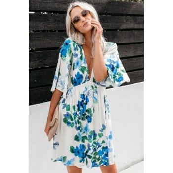 Sky Blue Hawaiian Babydoll Floral Dress White