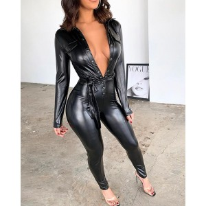 Sexy Black Deep V Neck PU Jumpsuits Slim Fit Faux Leather Jumpsuit with Belt