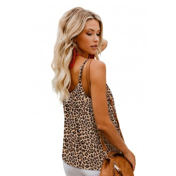 Brown Leopard Button Up V Neck Strappy Shirt Tank Top