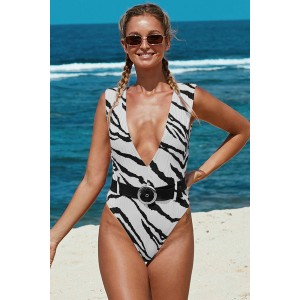 Striated Animal Print Belted One-piece Swimwear Brown Orange