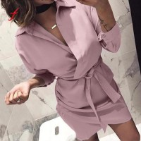 Long Sleeve Turn-Down Collar Casual T Shirt Dress Black Pink Red